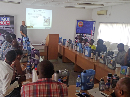 Mr. Tim Braun, Technical/Commercial Advisor of Liqui Moly Germany presents at ur Training Centre in Lagos