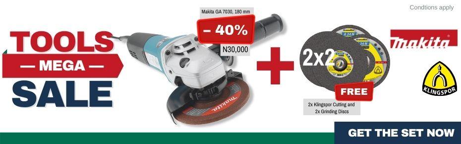 Tools Mega Sale: Makita Angle Grinder + 2x2 Grinding and Cutting Discs