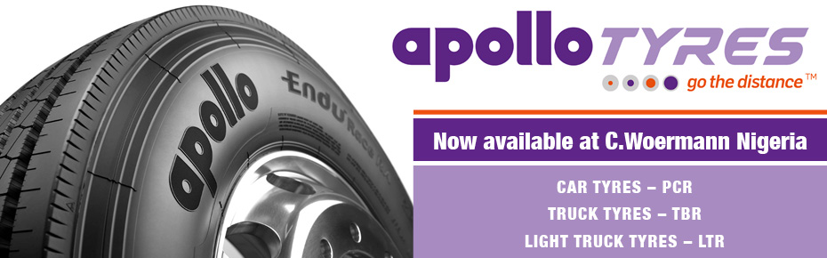 Apollo Tyres now available at C. Woermann Nigeria